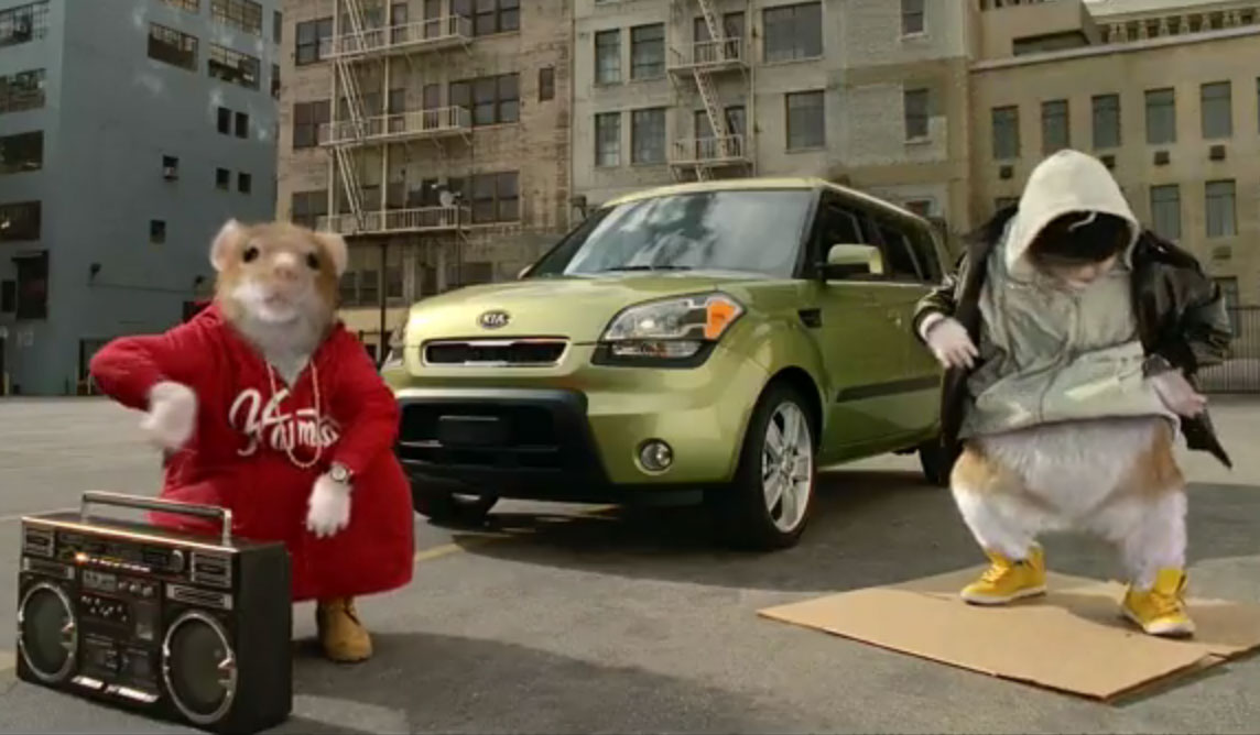 Kia Soul, complete with hamsters